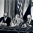 Signing peace accord at Camp David - 1978 Photo: Government Press Office