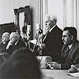 David Ben-Gurion declaring Israel's independence in 1948 Photo: Government Press Office
