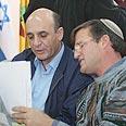 Mofaz (left) with Shaul Goldstein Photo: Gil Yochanan