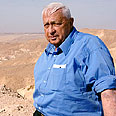 Prime Minister Ariel Sharon during a tour of the Israel-Egypt border Photo: GPO