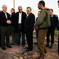 Barak visits rocket landing site Photo: Ariel Hermoni, Defense Ministry