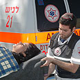 Paramedics evacuate Sderot resident to hospital Photo: Zeev Trachtman