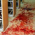 Blood stains at yeshiva Photo: Avi Ohayon, GPO