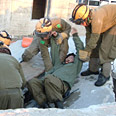 Rescue services during drill Monday Photo: Ze'ev Trachtman