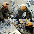 Dummies buried under rubble in Jaffa Photo: Yaron Brener