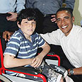 Obama with rocket stricken boy in Sderot Photo: Gadi Kabalo