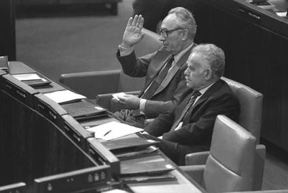 Peres, left, with Yitzhak Shamir, as part of the unity government (Photo: Nati Harnik, GPO)