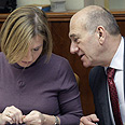 Livni and Olmert during cabinet meeting Photo: Emil Salman -