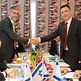 Likud negotiators with Shas' Yishai Photo: Yaron Brener