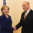 Olmert greets Clinton Photo: Avi Ochion
