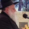 Rabbi Shimon Rosenberg at terror victims' ceremony Photo: Channel 2