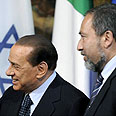 &#39;Limit dialogue with Iran.&#39; Lieberman with Berlusconi Photo: AFP