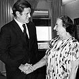 Kennedy and Meir during his visit to Israel Photo: AFP