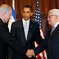 Netanyahu (L), Obama and Abbas in Washington (archives) Photo: AP