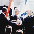 Sadat (L), Carter and Begin after peace deal signed Photo: Government Press Office