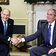 Bush with Olmert on Tuesday Photo: AFP