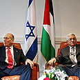 Olmert, Abbas at the Summit Monday Photo: AP