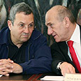 Barak, Olmert in cabinet meeting Photo: Reuters