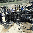 Car demolished in previous IDF strike (Archive photo) Photo: AFP