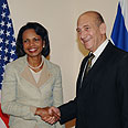 Rice with Israeli PM Olmert Photo: GPO