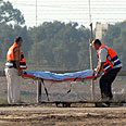 Body of Palestinian infiltrator evacuated on Saturday Photo: AFP