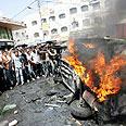 Major's car set ablaze in Jenin Photo: AFP