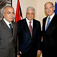 Olmert, Abbas, Fayyad in Jerusalem Photo: GPO
