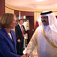 Livni with the Qatari Emir at UN last year Photo: Shahar Azran