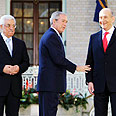 Abbas, Bush and Olmert at White House Photo: AP