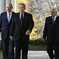 Olmert, Bush and Abbas at conference Photo: AFP