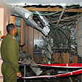 Damage from Qassam attack on Sderot home on Thursday Photo: AFP