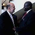 Israel's UN Ambassador Ron Prosor congratulates South Sudan's Vice President Riek Machar Photo: Tiferet Unterman