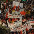 Protesters in Tel Aviv Photo: AP
