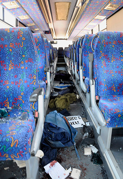Egged bus after attack (Photo: Reuters)