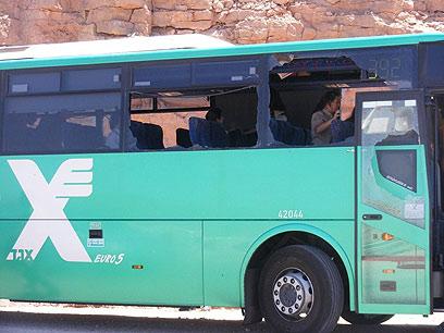 האוטובוס שהיה אחד היעדים שהותקפו במתקפת הטרור (צילום: יוסי בן)