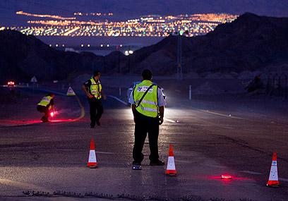 מחסומים באזור אילת (צילום: EPA)