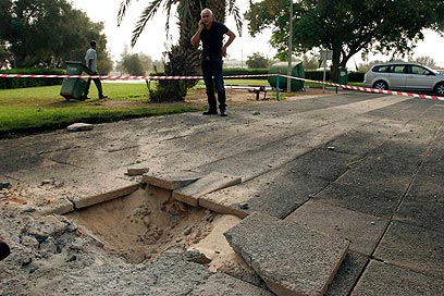 Rocket hits Eshkol Regional Council (Photo: Eliad Levy)