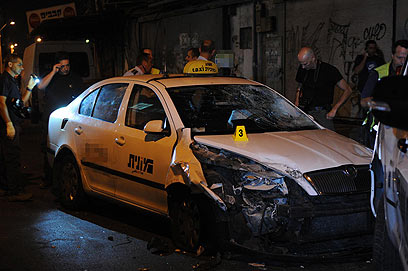 Cab stolen by terrorist (Photo: Yaron Brener)