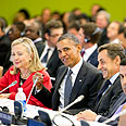 With Clinton and Sarkozy at UN Photo: Reuters