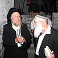 Rabbi Elyakim Levanon with Rebbe of Volbroz Photo: Meir Brachia, courtesy of Shomron Regional Council