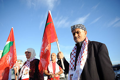 Celebrating outside Ofer Prison (Photo: Ben Kelmer)