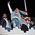 Protest in front of Qatari Embassy in Damascus Photo: EPA