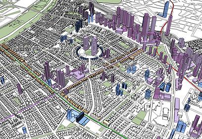 אזור אבן גבירול -דיזנגוף. כחול: בנייה גבוהה קיימת. סגול: בנייה גבוהה מתוכננת מאושרת. כתום: עיבוי בנייה קיימת עד 8 קומות (צילום: באדיבות עיריית תל אביב יפו)