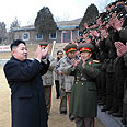 Kim Jong-un meets N. Korean soldiers Photo: AP