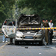 Israeli embassy vehicle blown up Photo: Reuters
