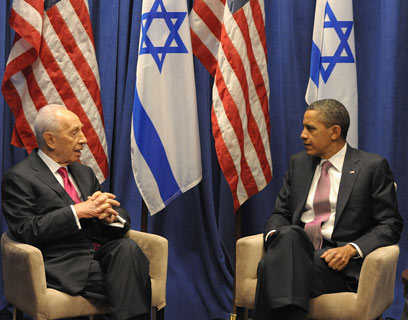 Peres, Obama at AIPAC conference (Photo: Moshe Milner, GPO)