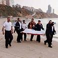 One of the bodies evacuated Photo: Ido Erez