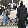 Smashed menorah in Chisinau