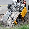 Minibus after crash Photo: Munir al-Burin, Yesh Din