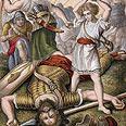 דוד הורג את גולית הפלישתי. איור משנת 1860